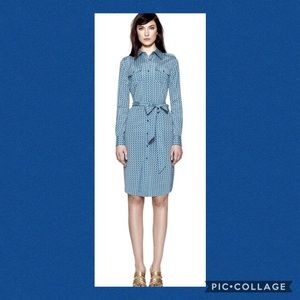 Tory Burch Stretch Silk Shirt Dress with Tie Belt